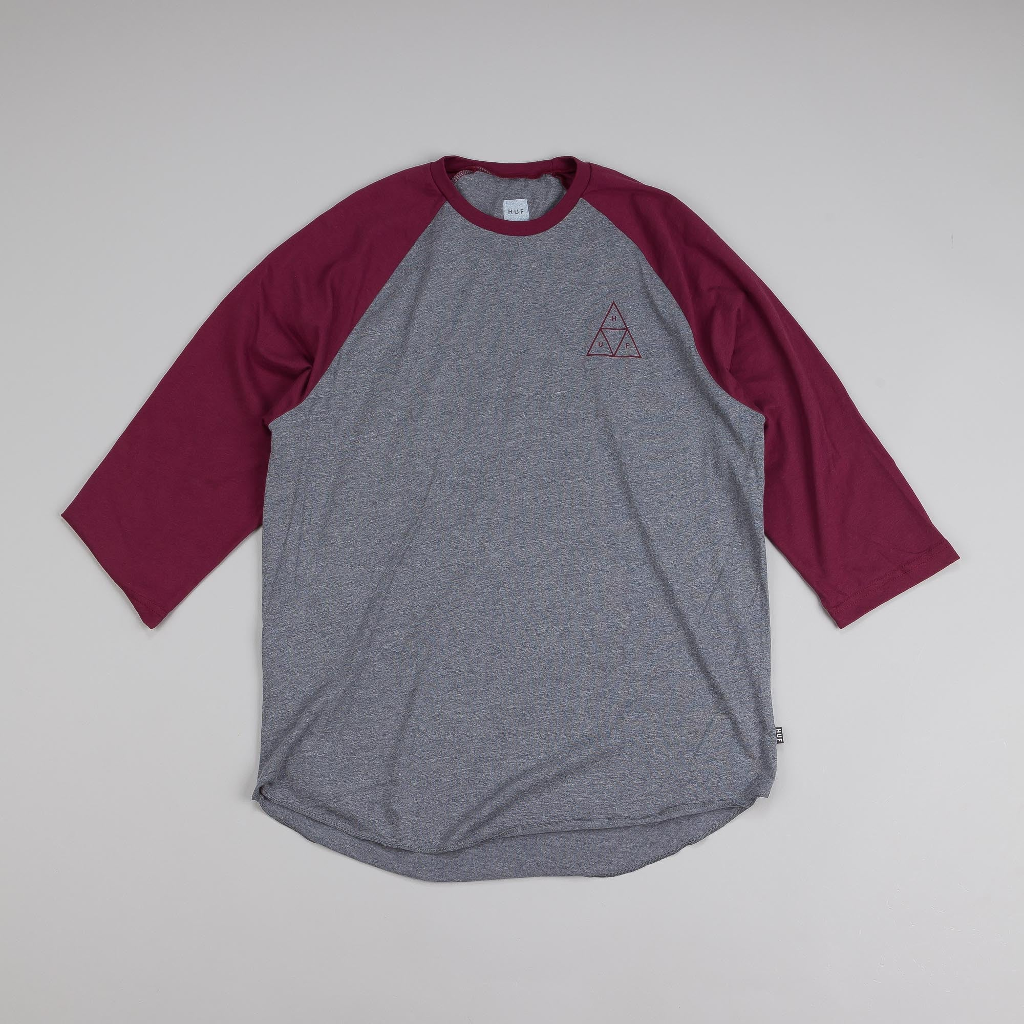 Huf Triangle Raglan T Shirt Grey Heather / Burgundy