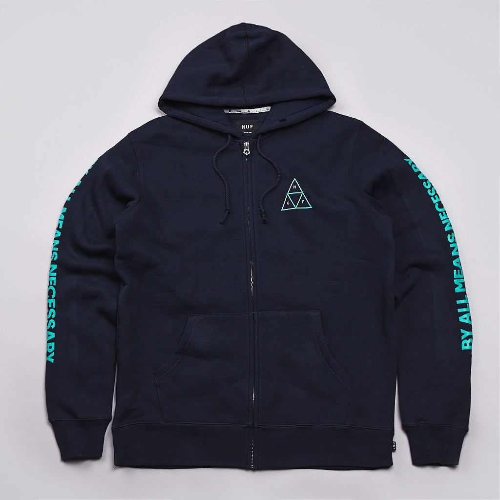 Huf Triple Triangle Fill Zipped Hooded Sweatshirt Navy