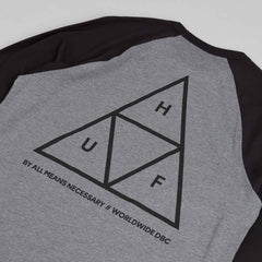 HUF Triple Triangle 3/4 Sleeve Raglan T-Shirt - Black / Dark Grey Heather