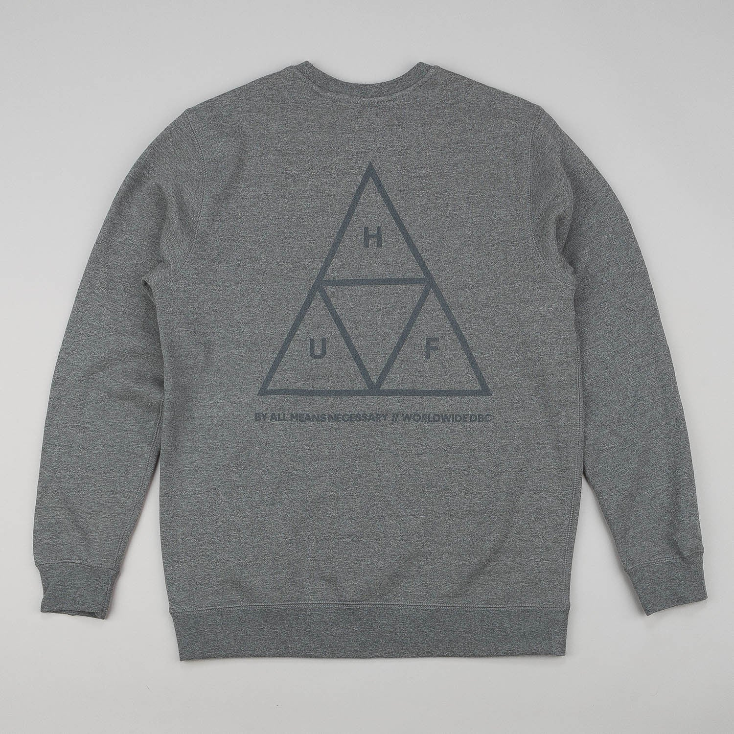 HUF Triple Triangle Crew Neck Sweatshirt - Gunmetal Heather Grey