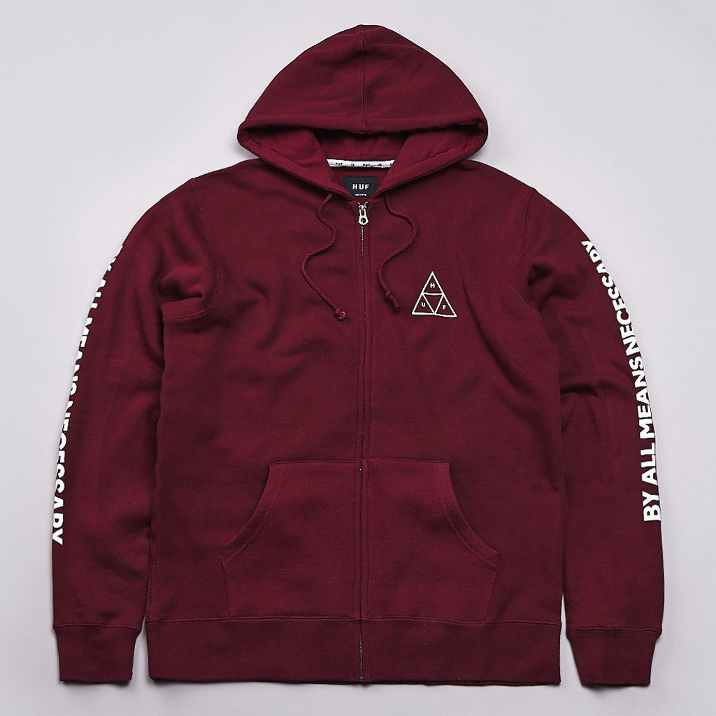 Huf Triple Triangle Fill Zipped Hooded Sweatshirt Burgundy