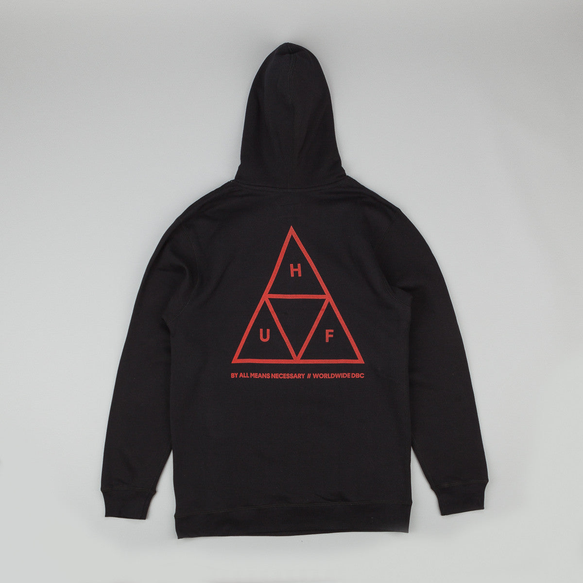 HUF Triple Triangle Fleece Hooded Sweatshirt - Black / Red