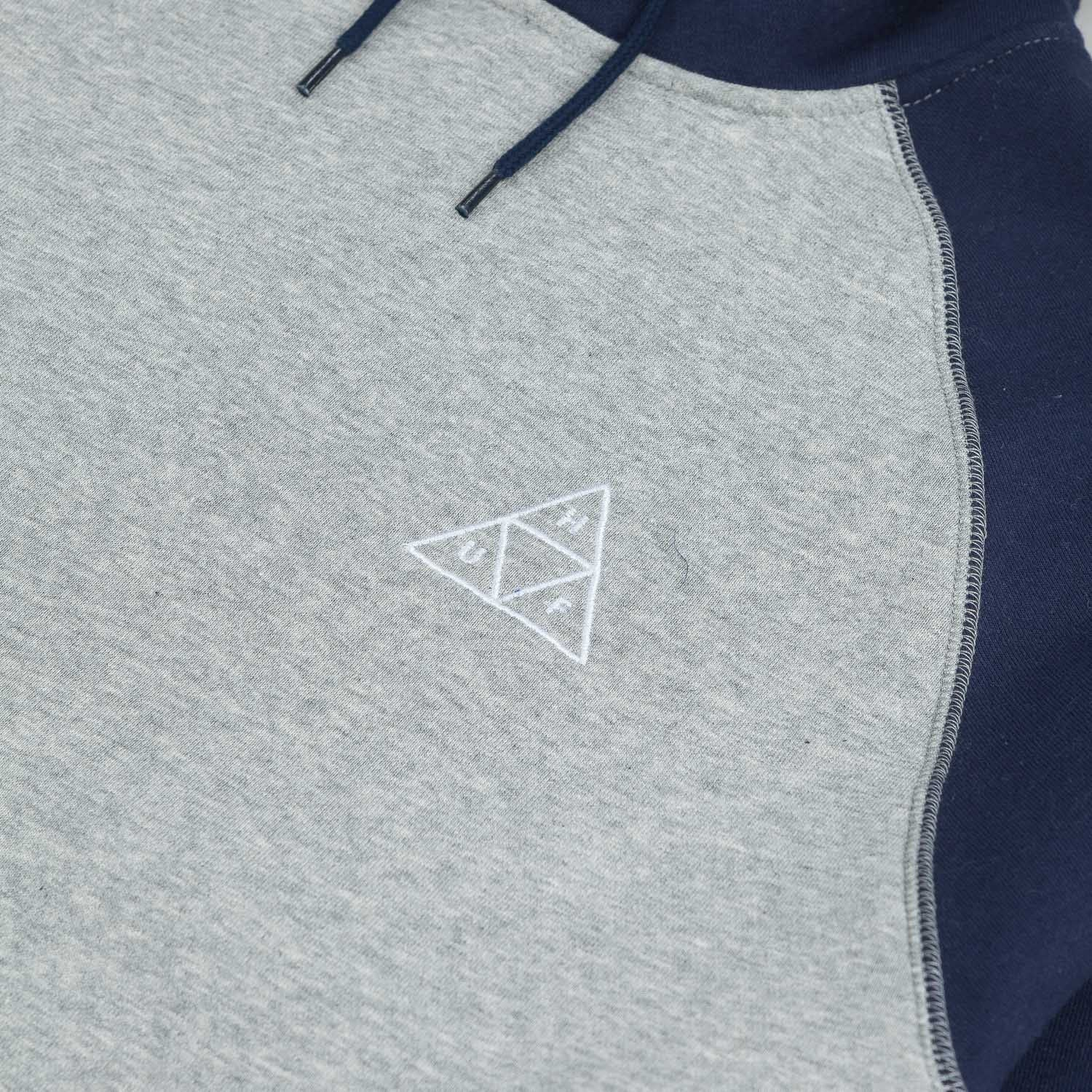 HUF Triple Triangle Raglan Hooded Sweatshirt - Navy / Grey Heather