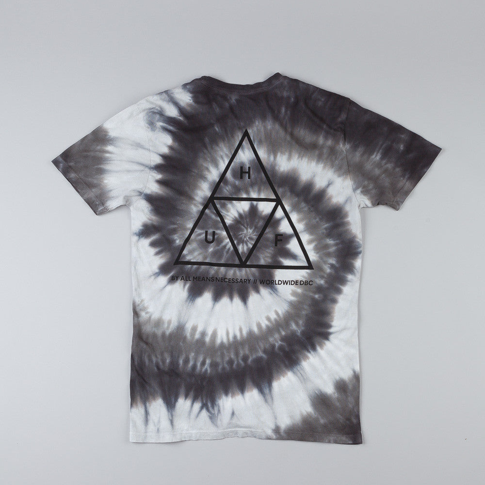 HUF Triple Triangle Spiral Wash T Shirt Grey Scale