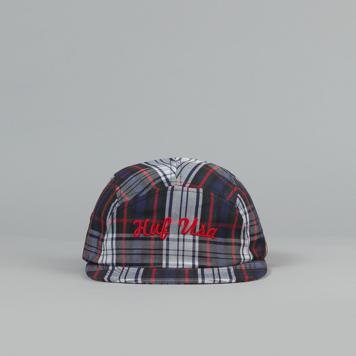HUF USA Plaid Moon 5 Panel Cap Black / White / Red
