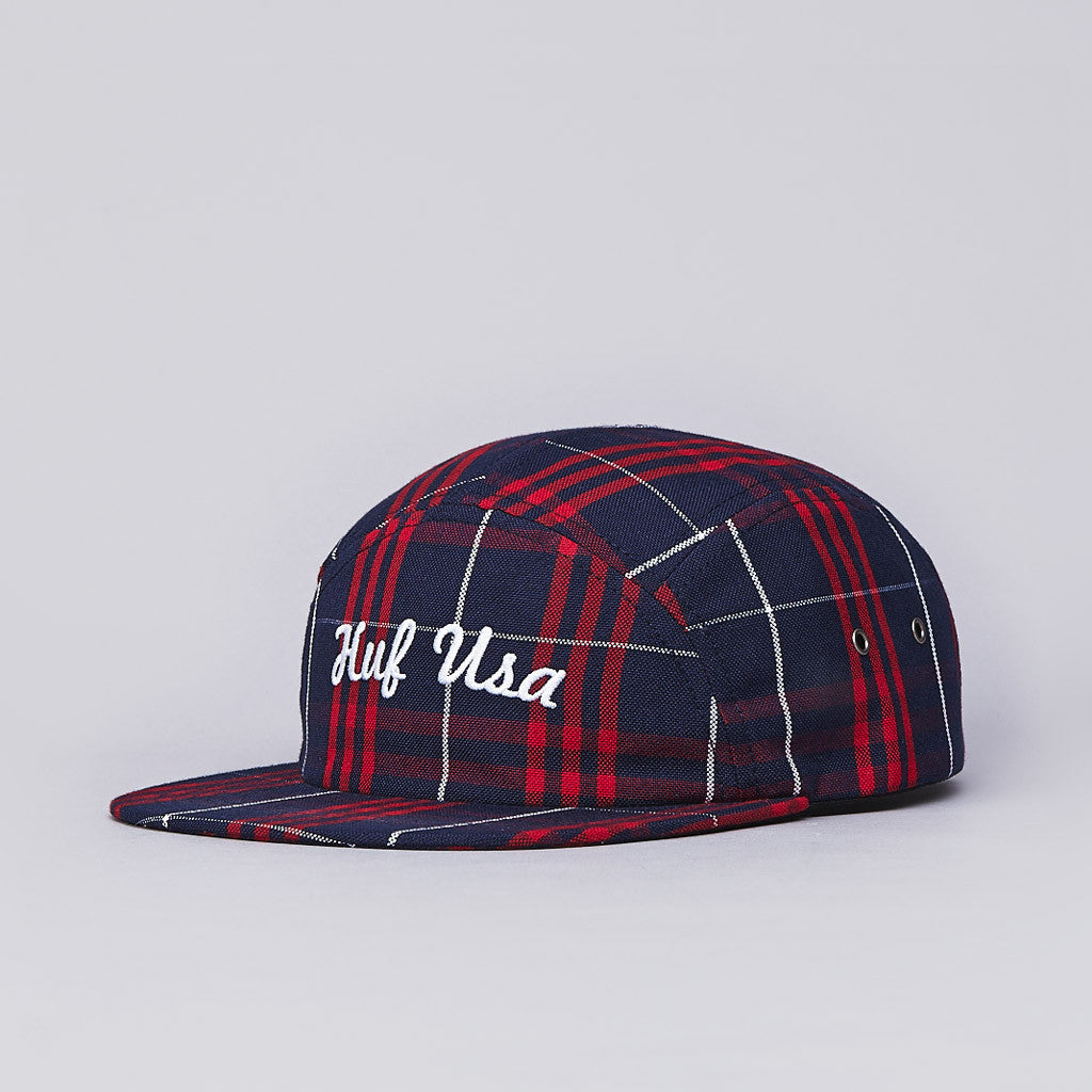 Huf USA Plaid Moon 5 Panel Cap Red / Blue / White