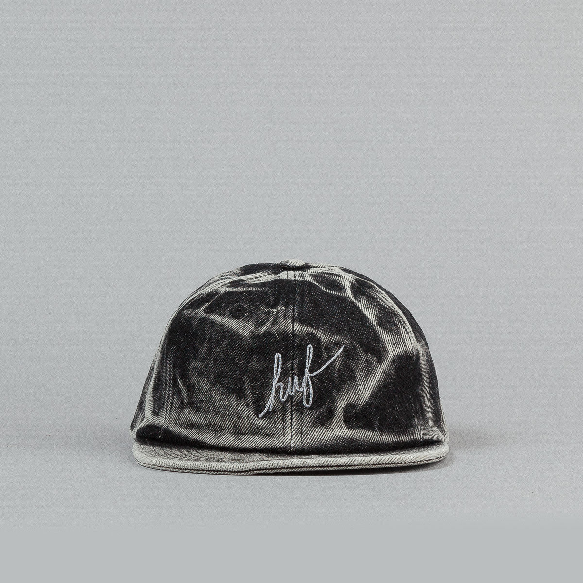 HUF Washed Script 6 Panel Cap - Black