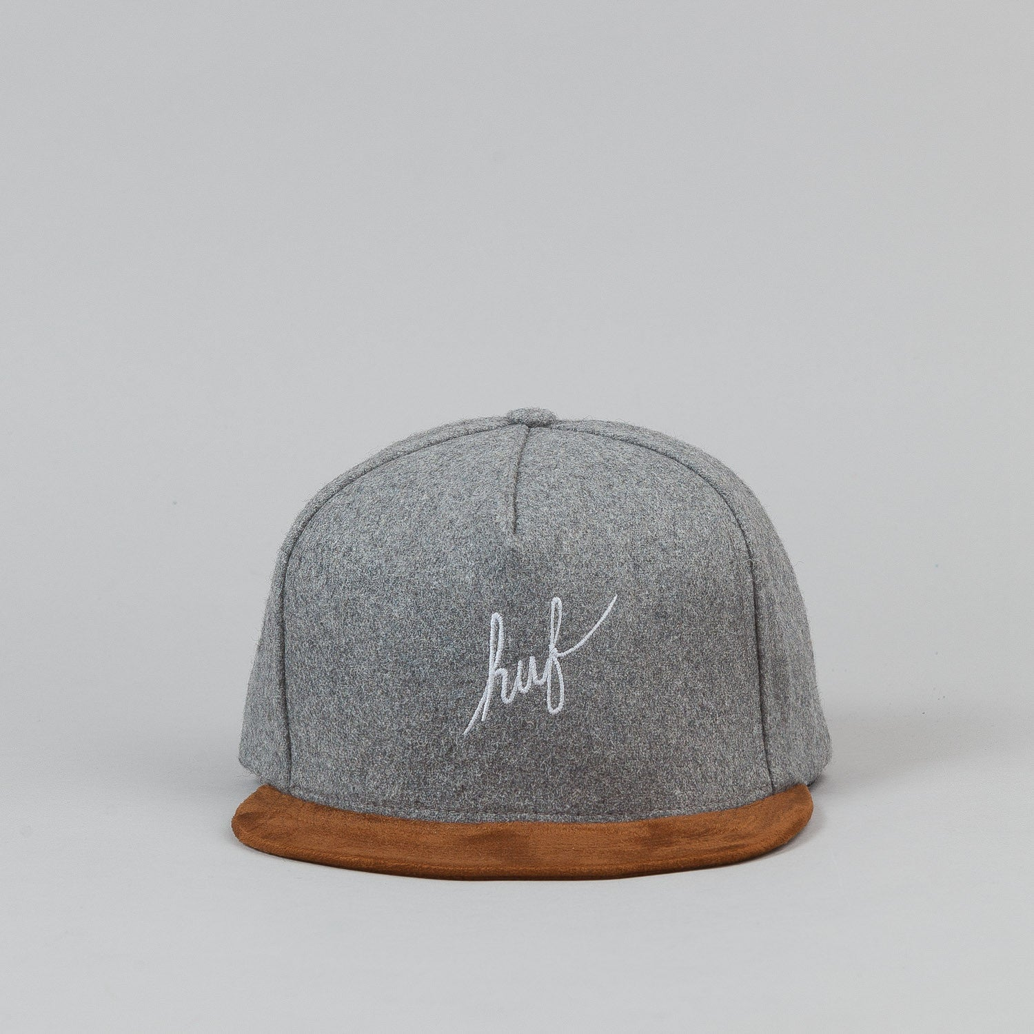 HUF Wool Script Snapback Cap - Grey Heather