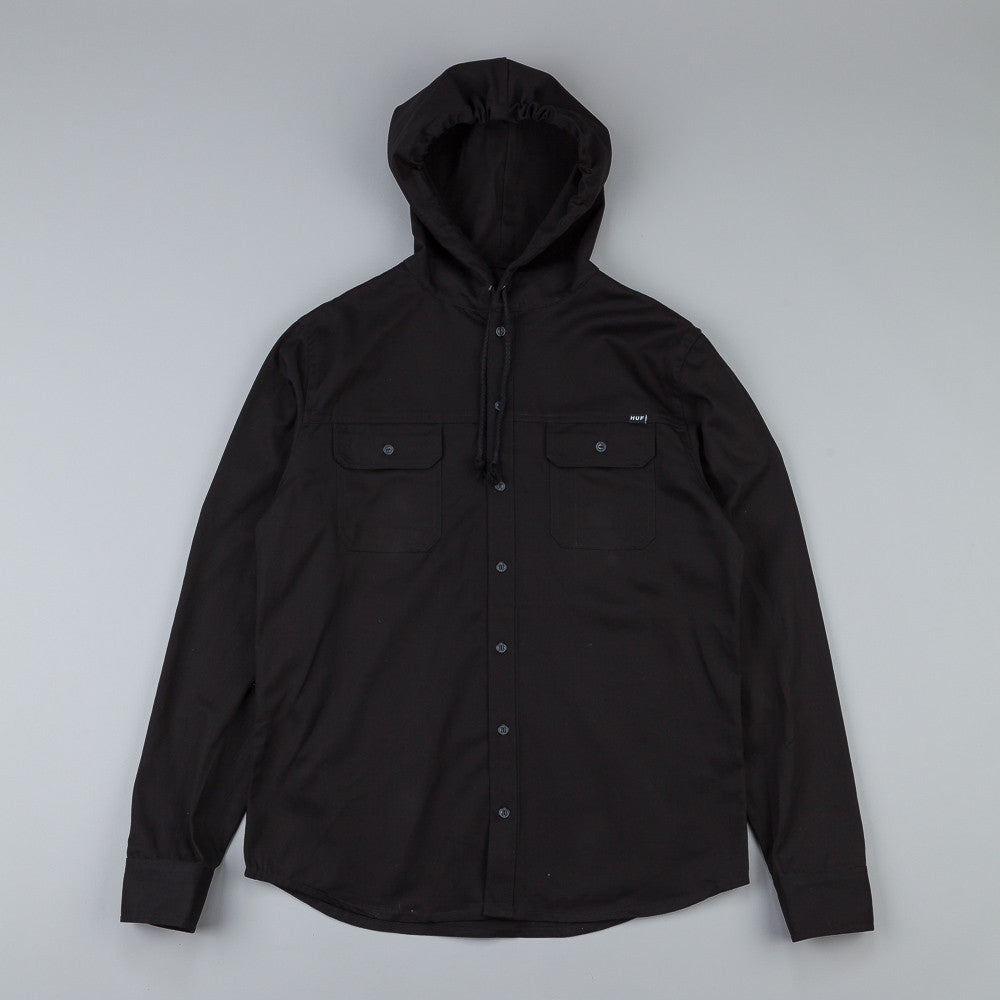 Huf Worldwide Hooded L/S Shirt Black