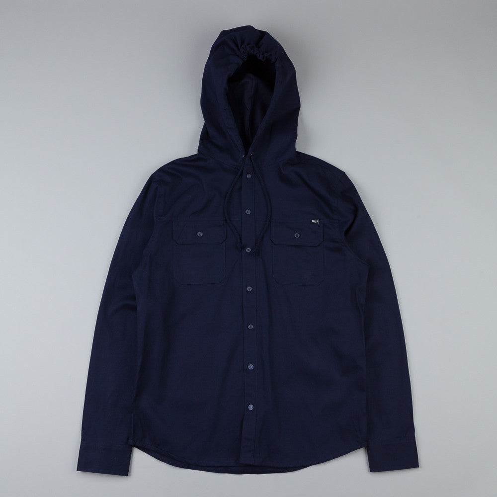 Huf Worldwide Hooded L/S Shirt Navy