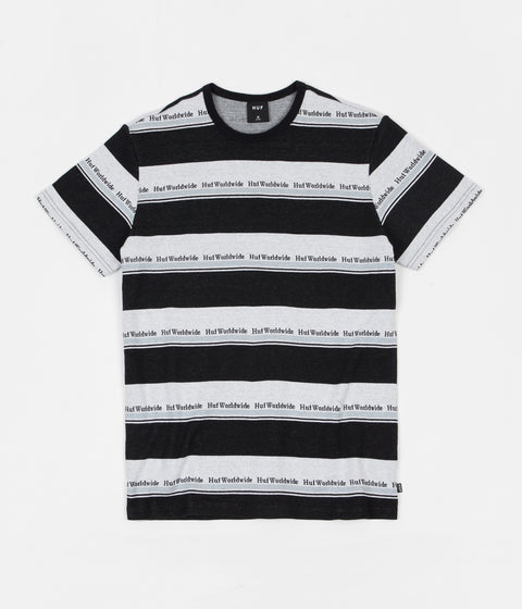 HUF Worldwide Stripe Knit T-Shirt - Black