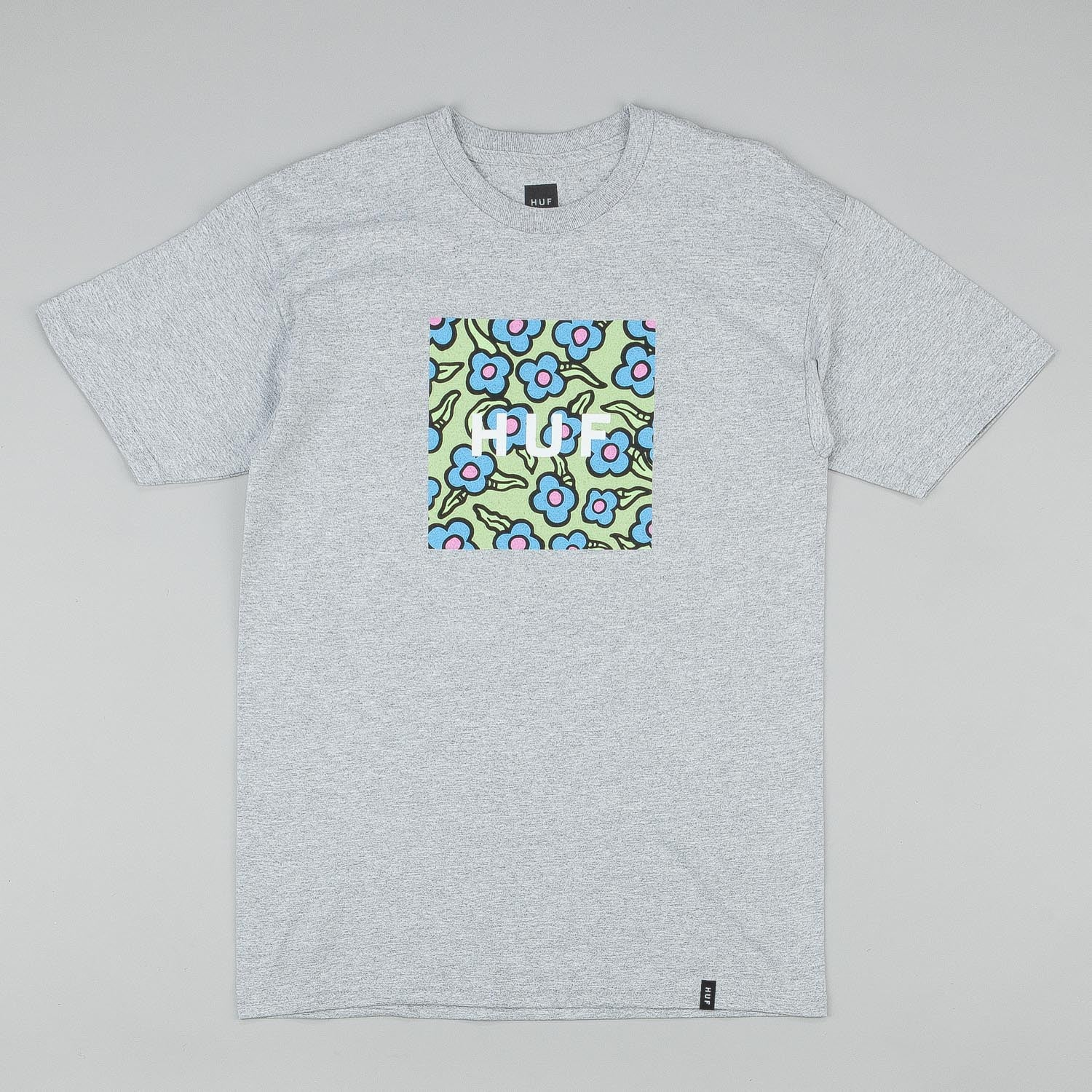 HUF X Krooked Flowers Box Logo T-Shirt - Heather Grey
