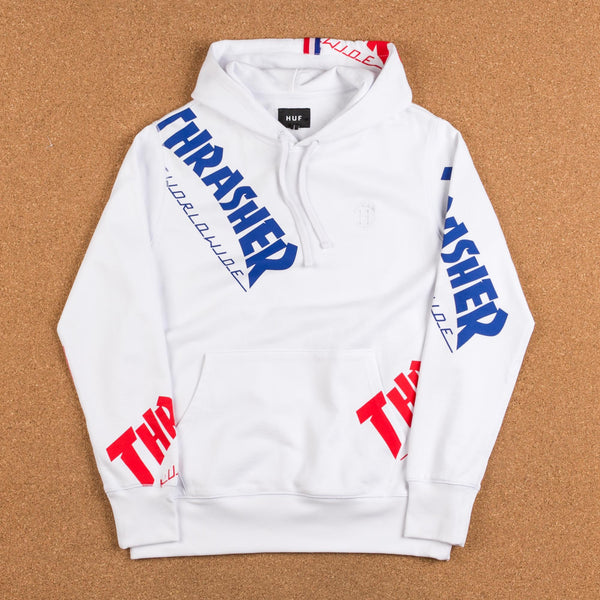 HUF x Thrasher TDS Allover Hooded Sweatshirt - White