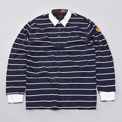 I Love Ugly Long Sleeve Polo Shirt Blue Striped