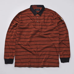 I Love Ugly Long Sleeve Polo Shirt Copper Striped