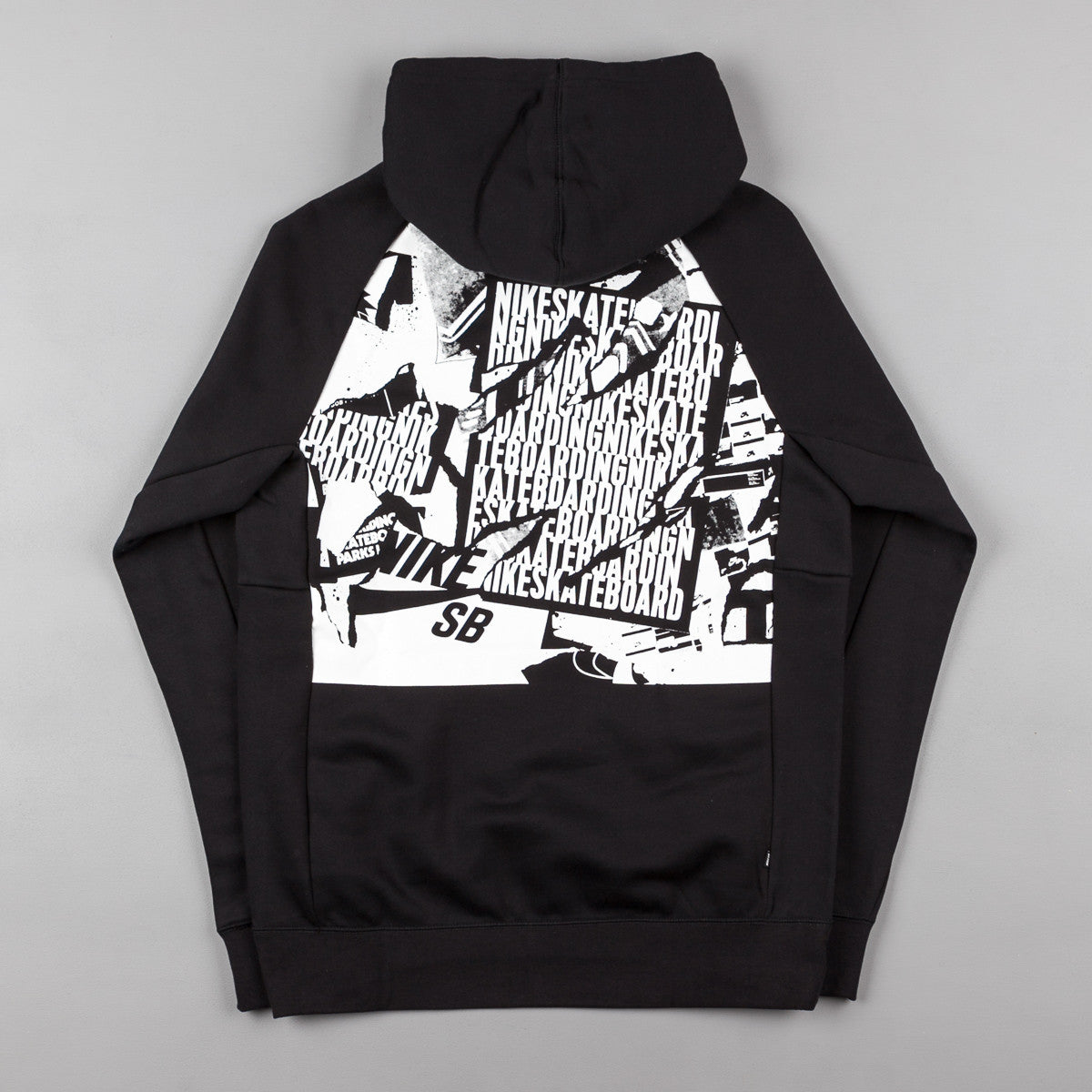 Nike SB Icon Ripped Pullover Hooded Sweatshirt - Black / White