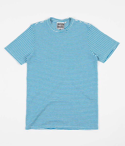 Jungmaven Yarn Dyed T-Shirt - Aegean Sea Blue Stripe