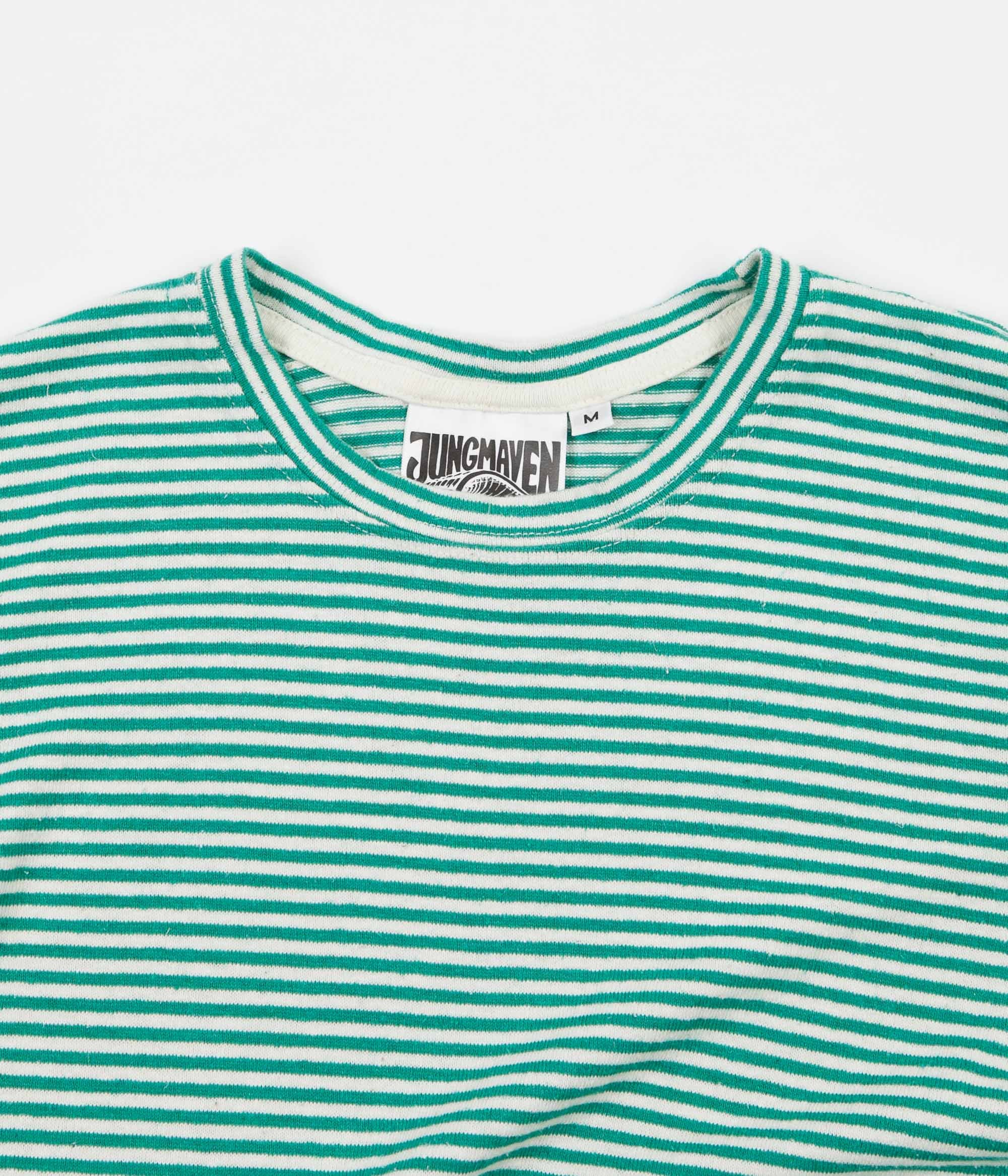 Jungmaven Yarn Dyed Hemp T-Shirt - Basil Green Stripe