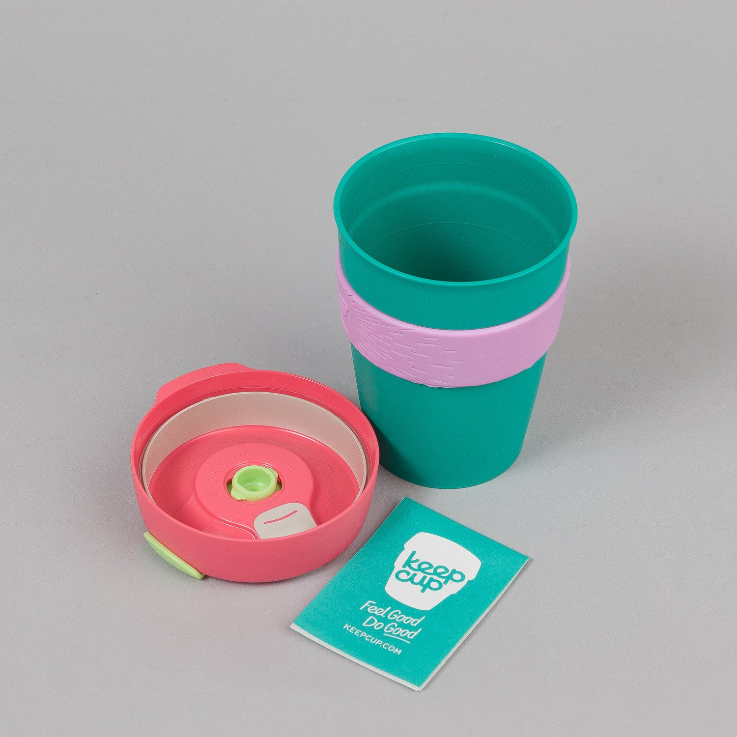 KeepCup Khidr 12oz Medium Reusable Coffee Cup - Green Jade / Pink Sun
