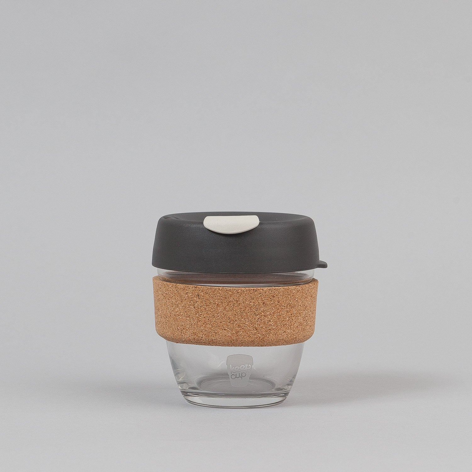KeepCup Press 8oz Small Glass Coffee Cup - Soft Charcoal / Cork