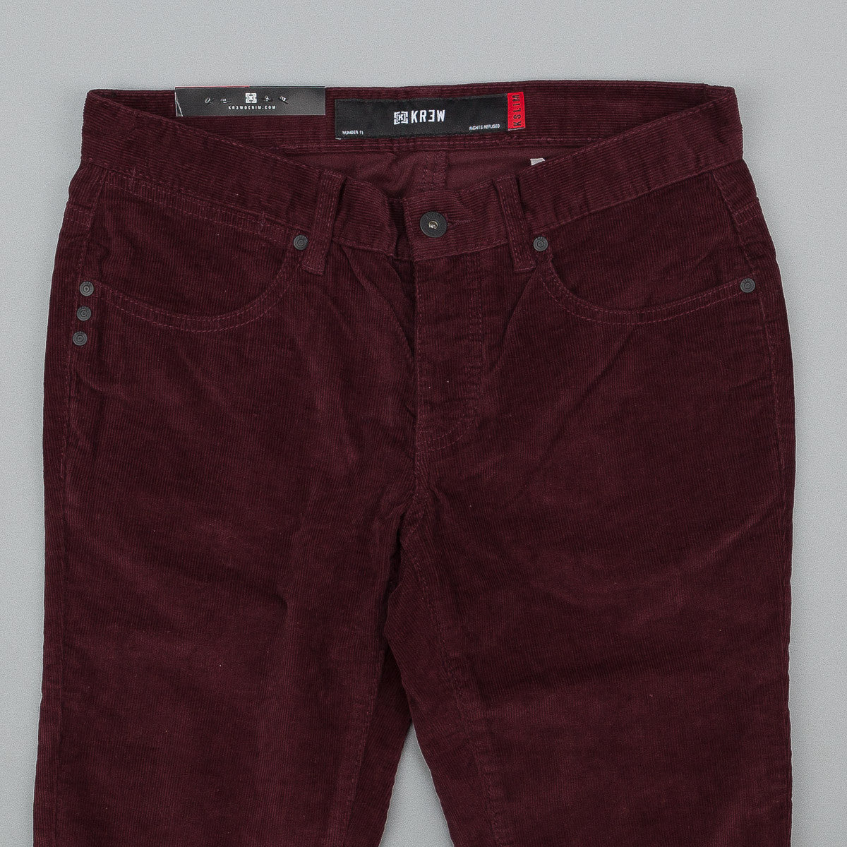 Kr3w K Slim Cord Trousers - Burgundy