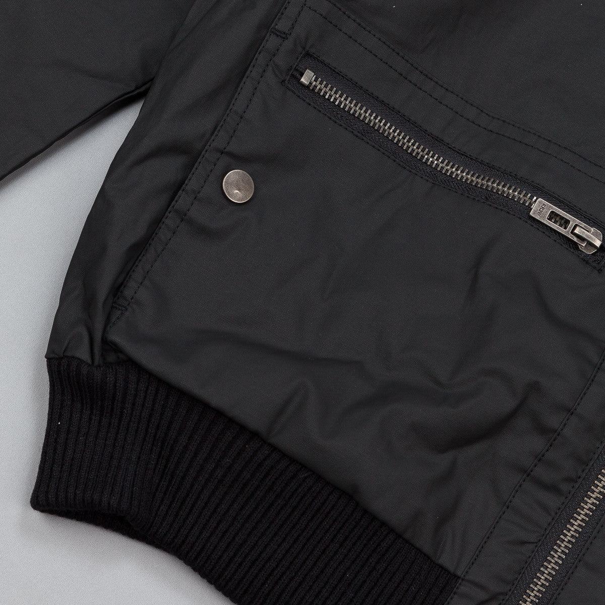 Kr3w Wallace Wax Coated Bomber Jacket - Black