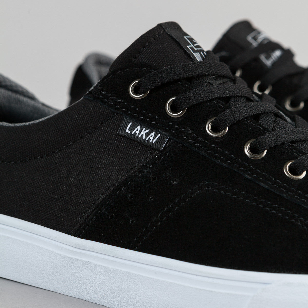Lakai Flaco Suede Shoes - Black / Grey