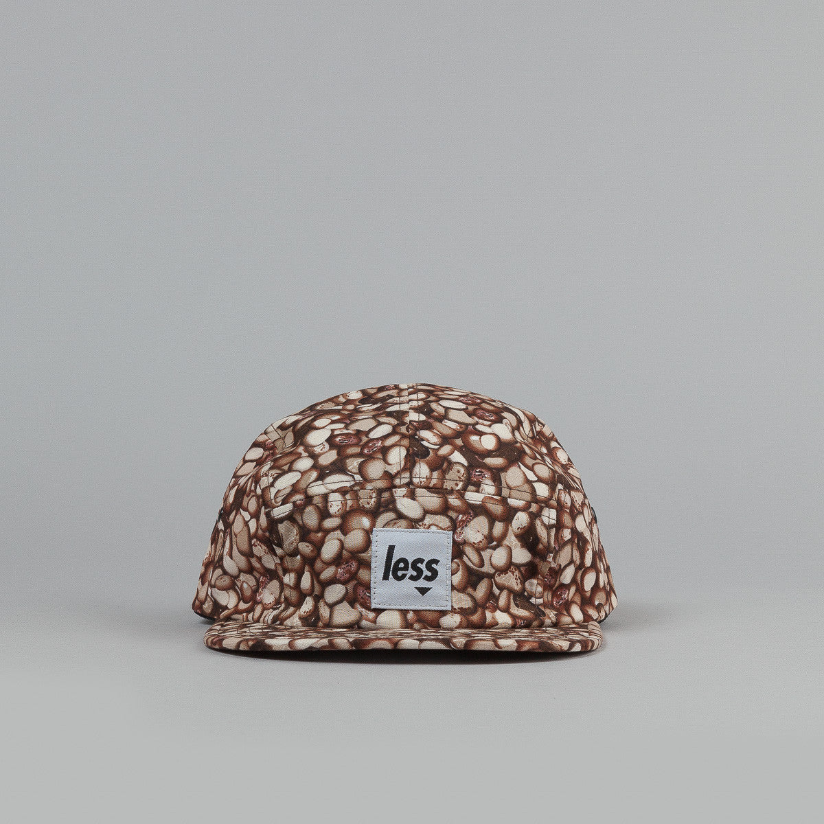 Less Square Logo Camp Cap Coffee Beans Pattern Brown