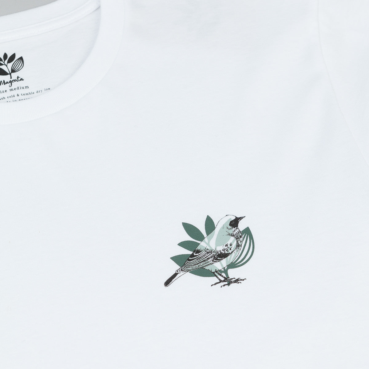Magenta Bird Heart T-Shirt - White