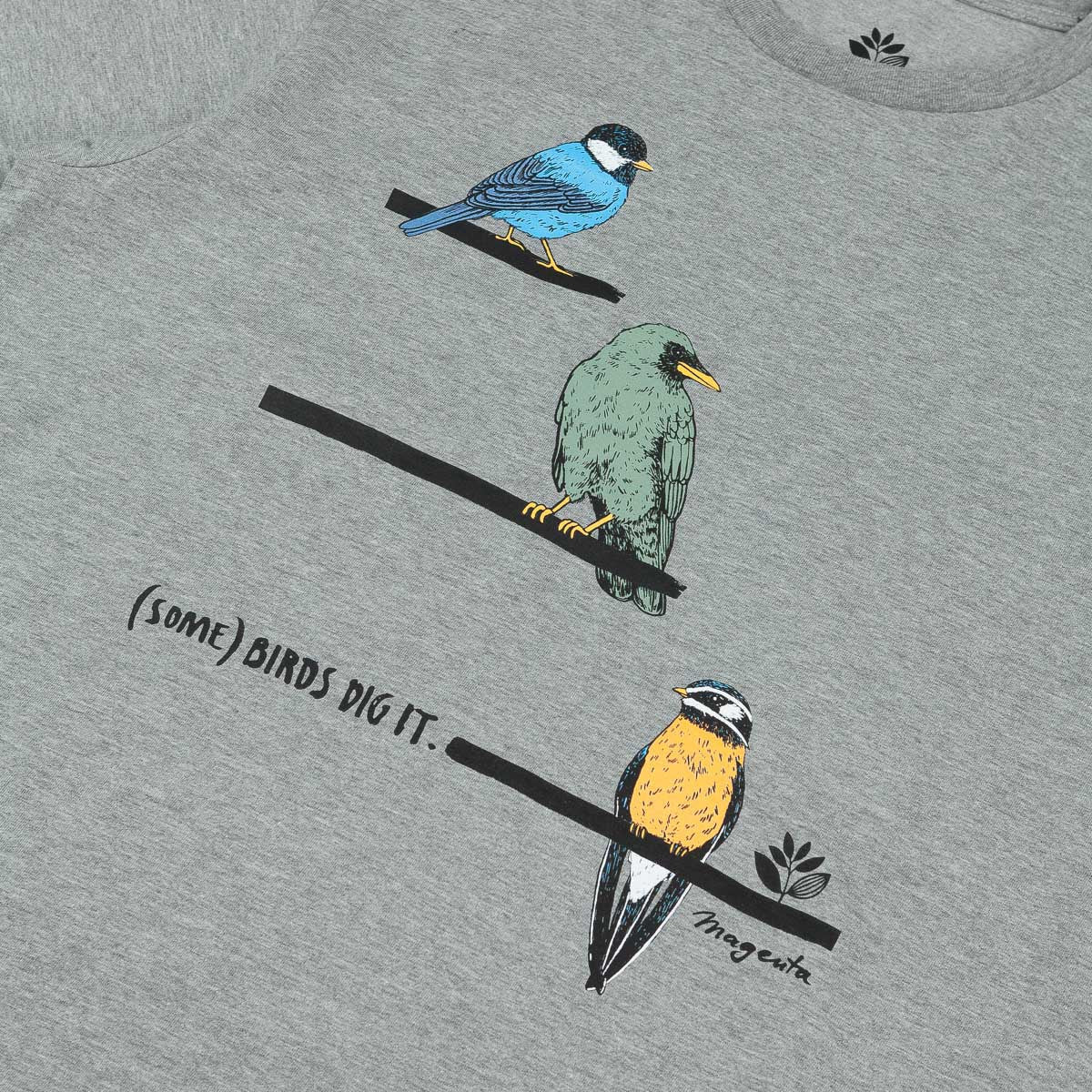 Magenta Birds Dig It T-Shirt - Heather Grey