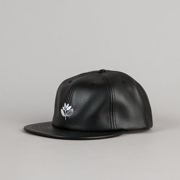 Magenta Brode Leather Cap - Black