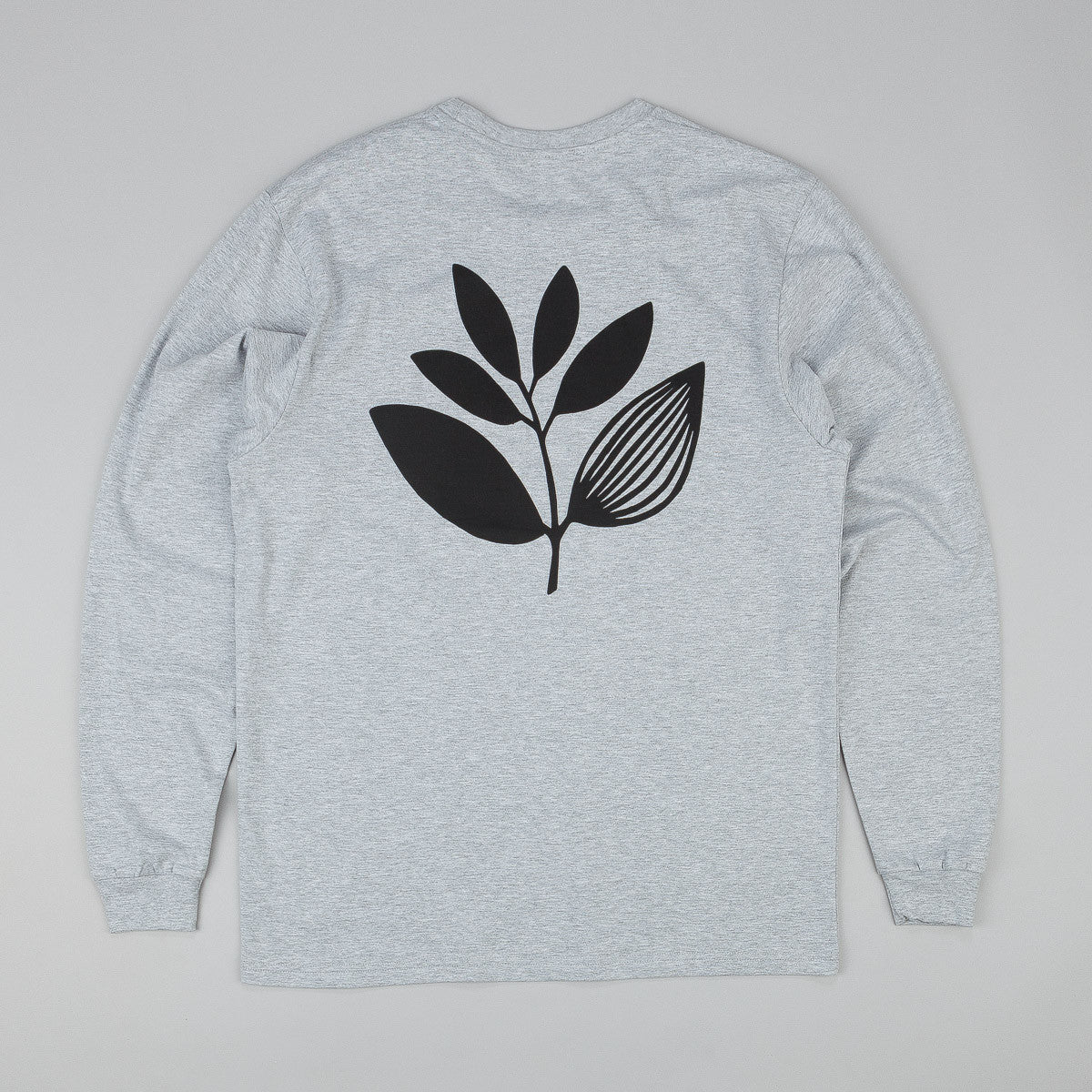 Magenta Classic Plant Long Sleeve T-Shirt - Heather Ash Grey