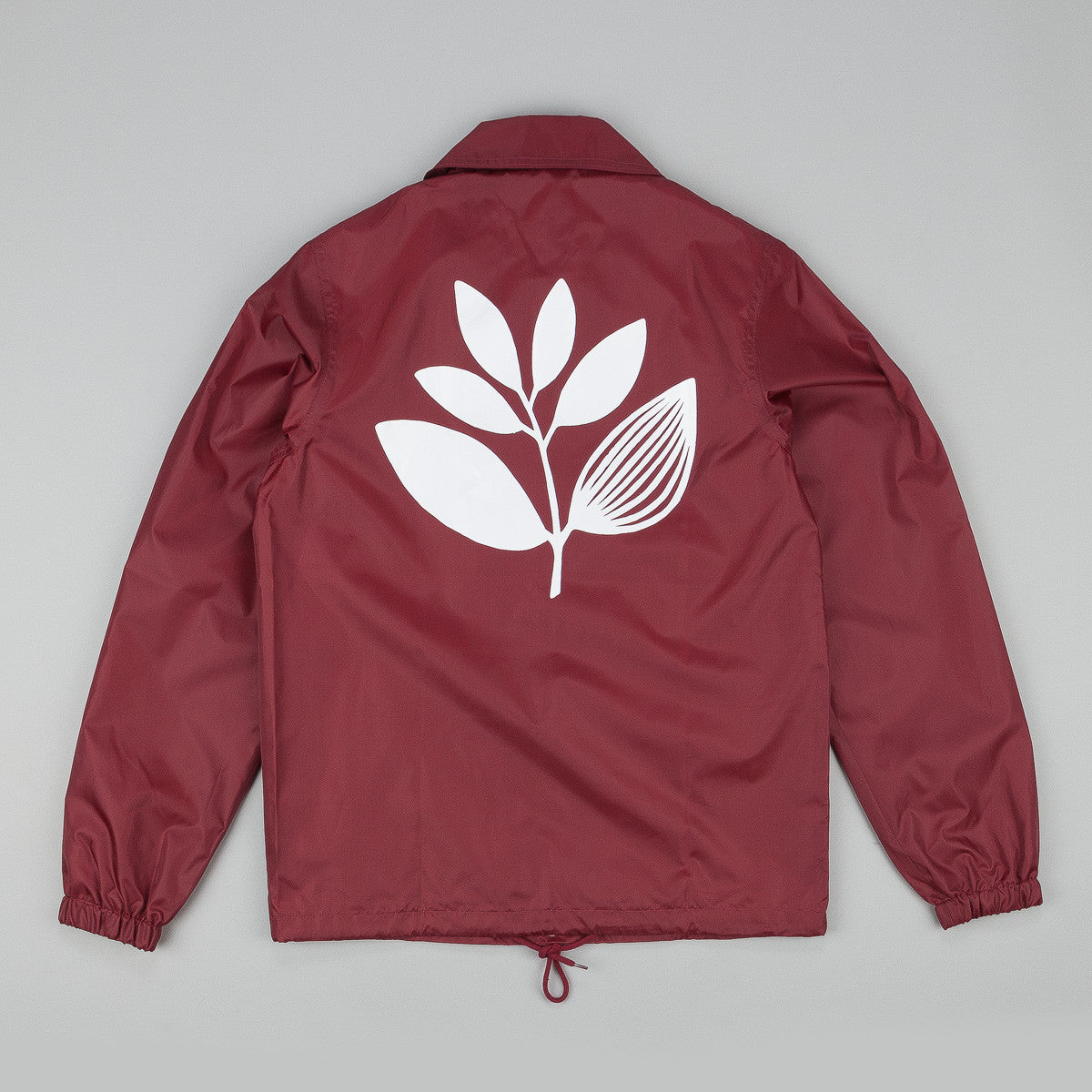 Magenta Classic Plant Windbreaker Jacket - Burgundy / White