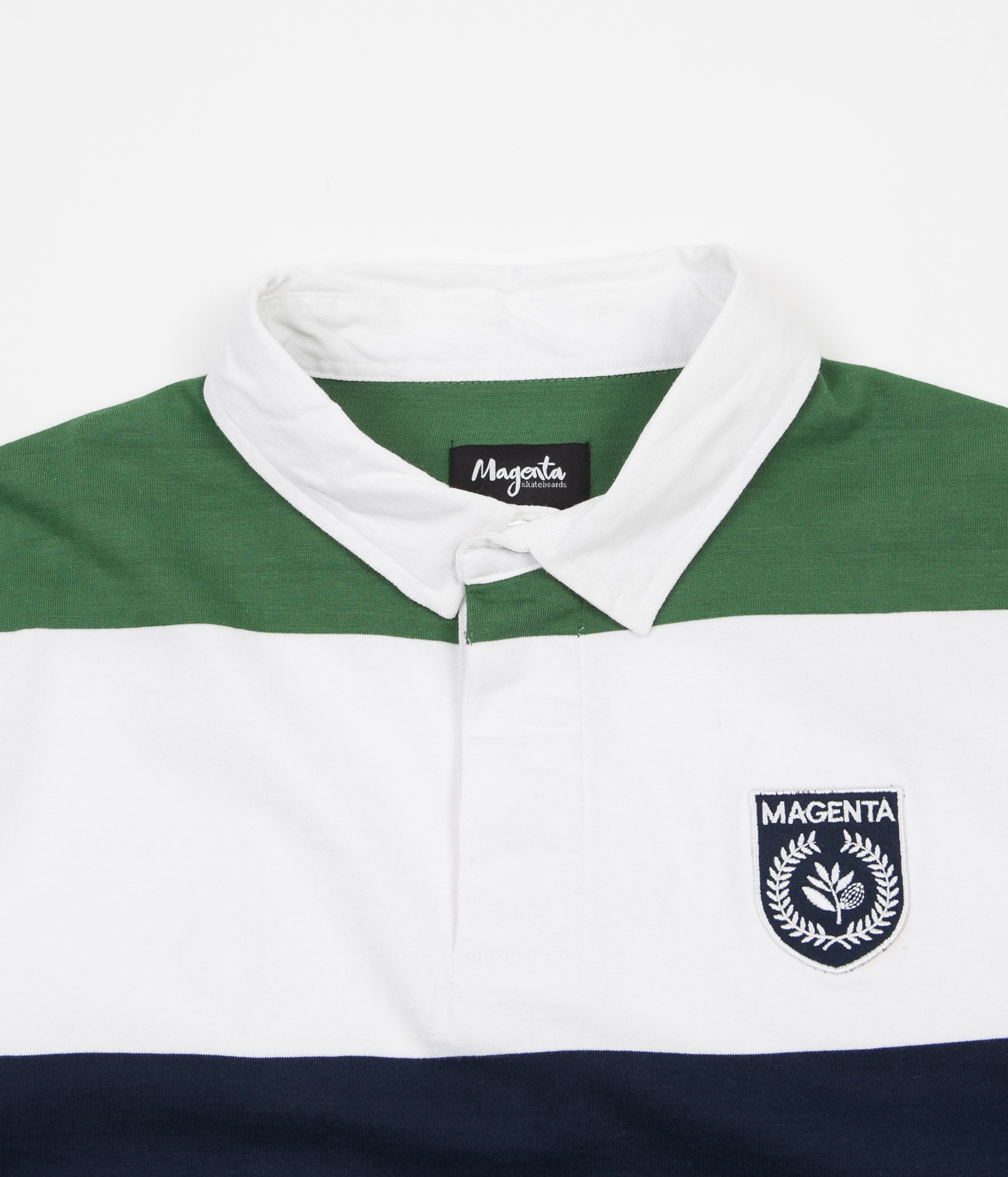 Magenta Long Sleeve Rugby Polo Shirt - Green / White / Navy