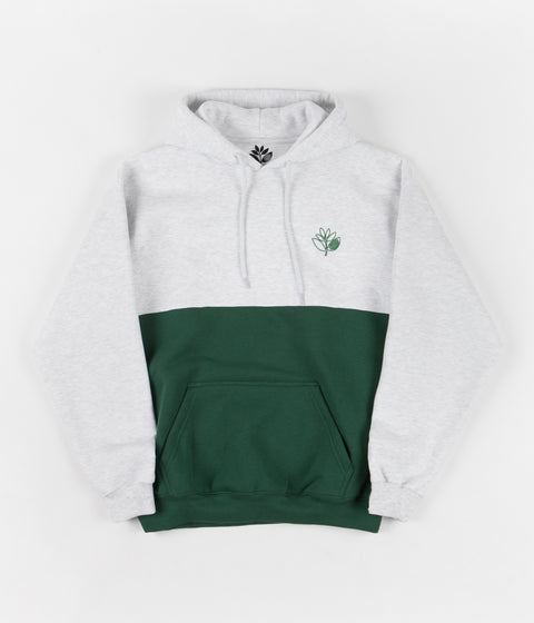 Magenta Outline Duo Hoodie - Ash / Forest Green