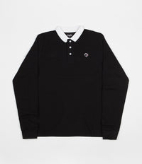 Magenta Pique Long Sleeve Polo Shirt - Black