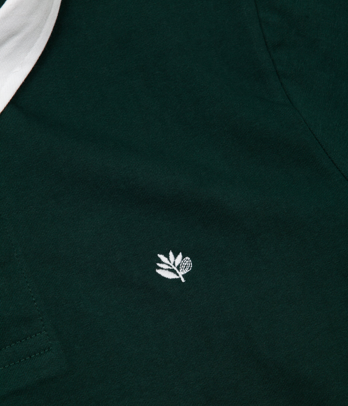 Magenta Plant Long Sleeve Polo Shirt - Forest Green