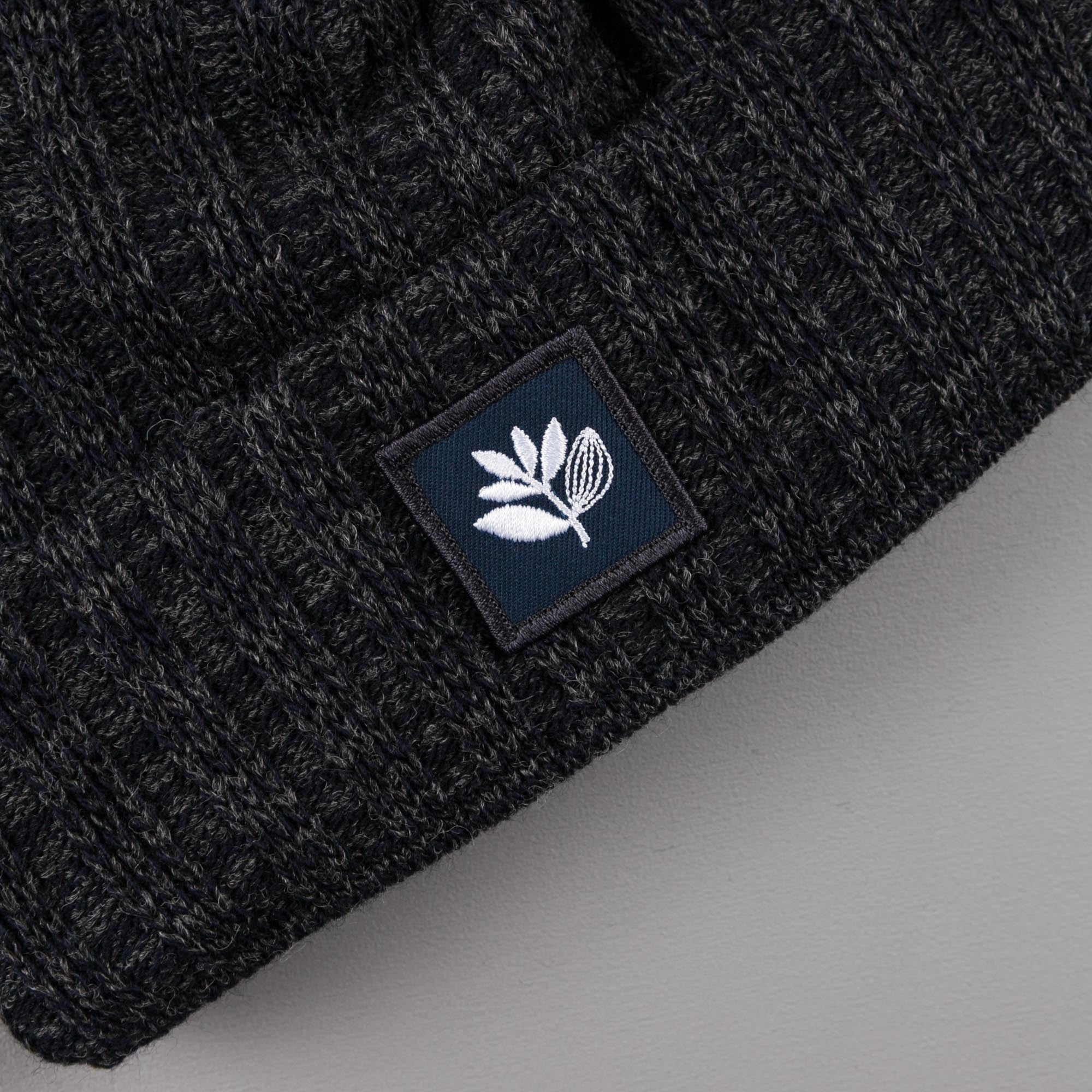 Magenta Ribbed Wool Beanie - Charcoal Blue