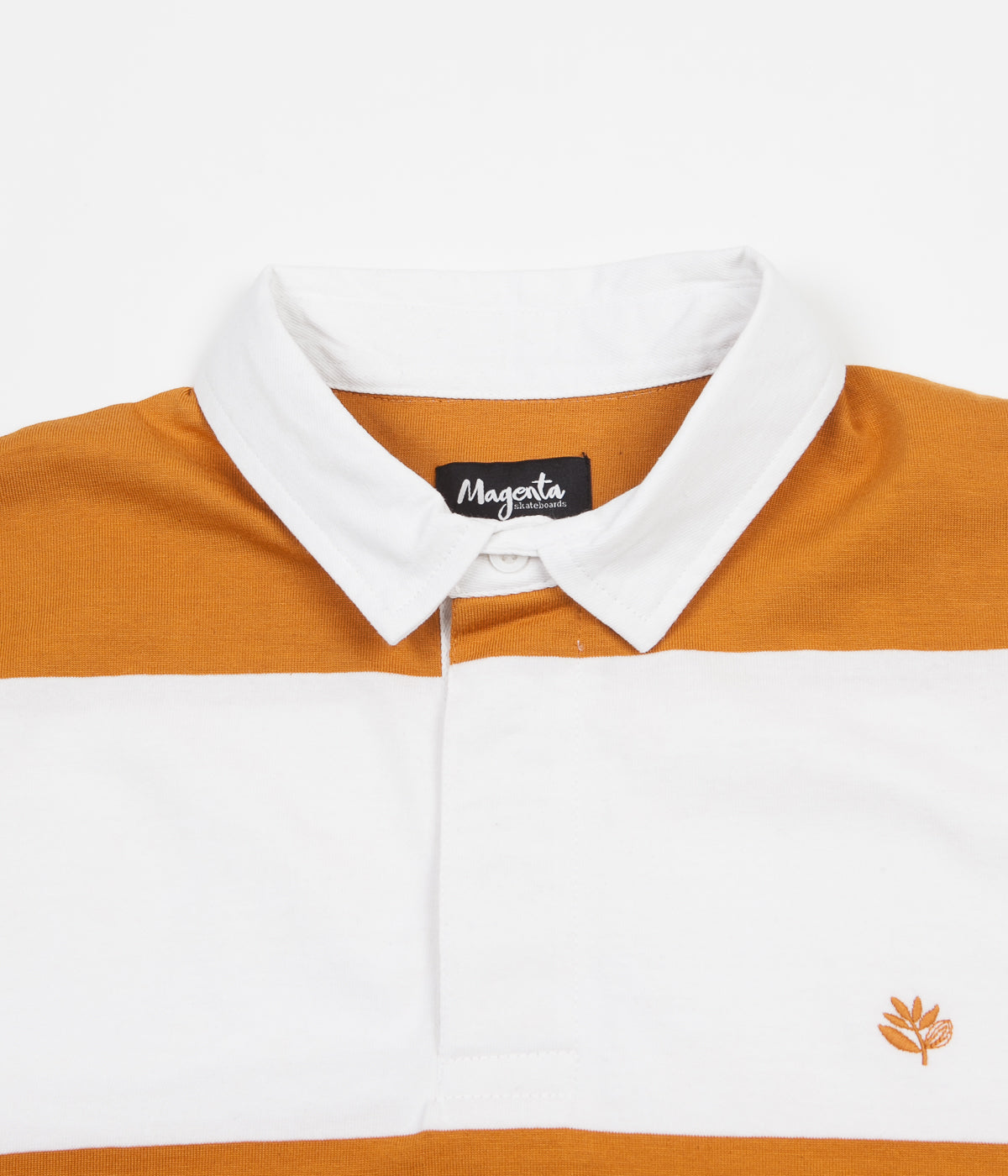 Magenta Rugby Long Sleeve Polo Shirt - White / Orange