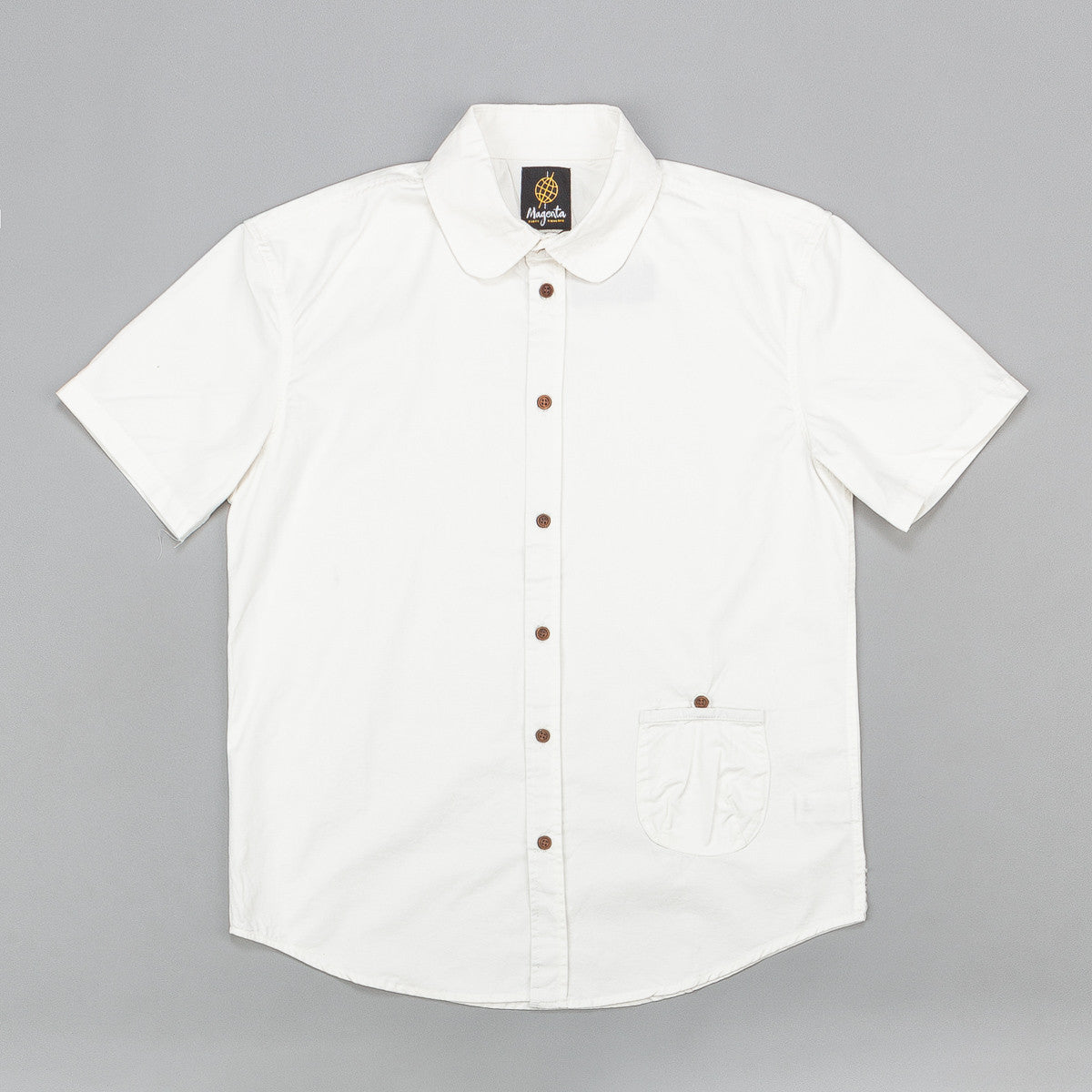 Magenta Short Sleeve Shirt - White