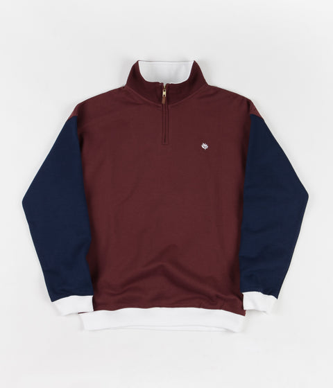 Magenta Tricolour Zip Neck Sweatshirt - Navy / Burgundy / White
