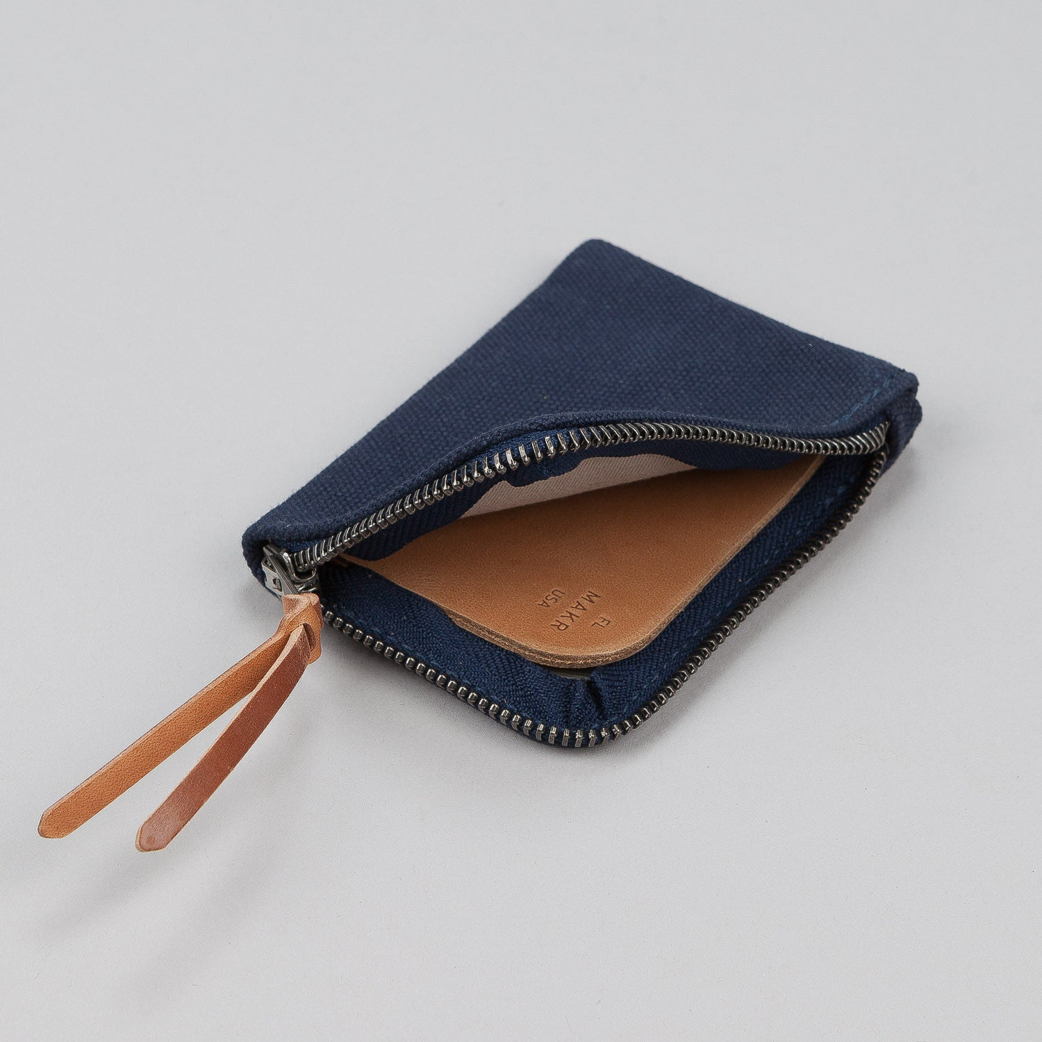 Makr Canvas Zip Slim Wallet - Navy
