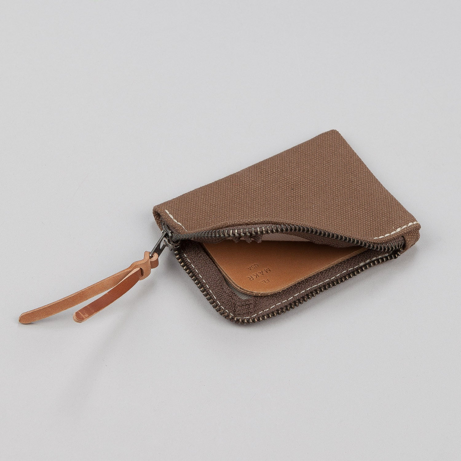 Makr Canvas Zip Slim Wallet - Tobacco