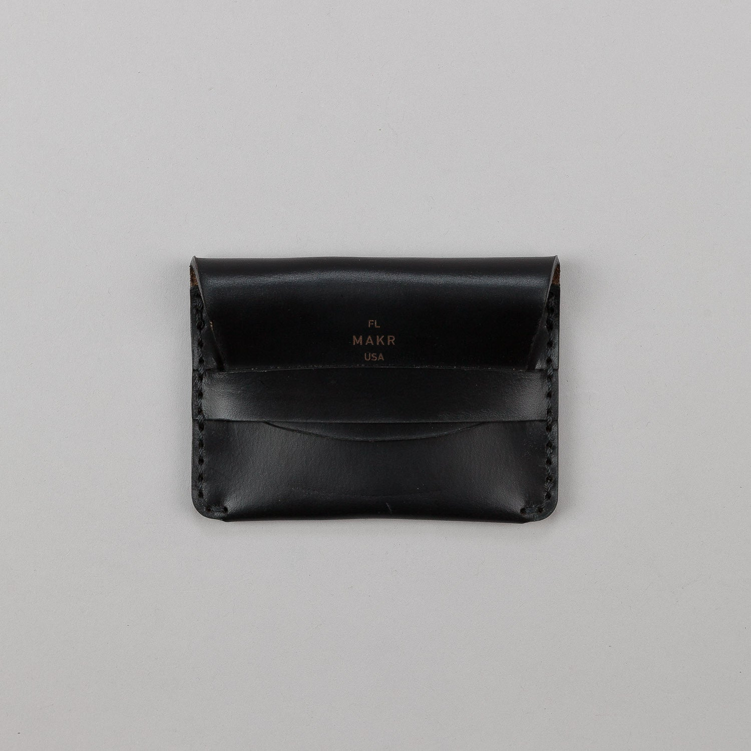 Makr Flap Slim Leather Wallet - Black
