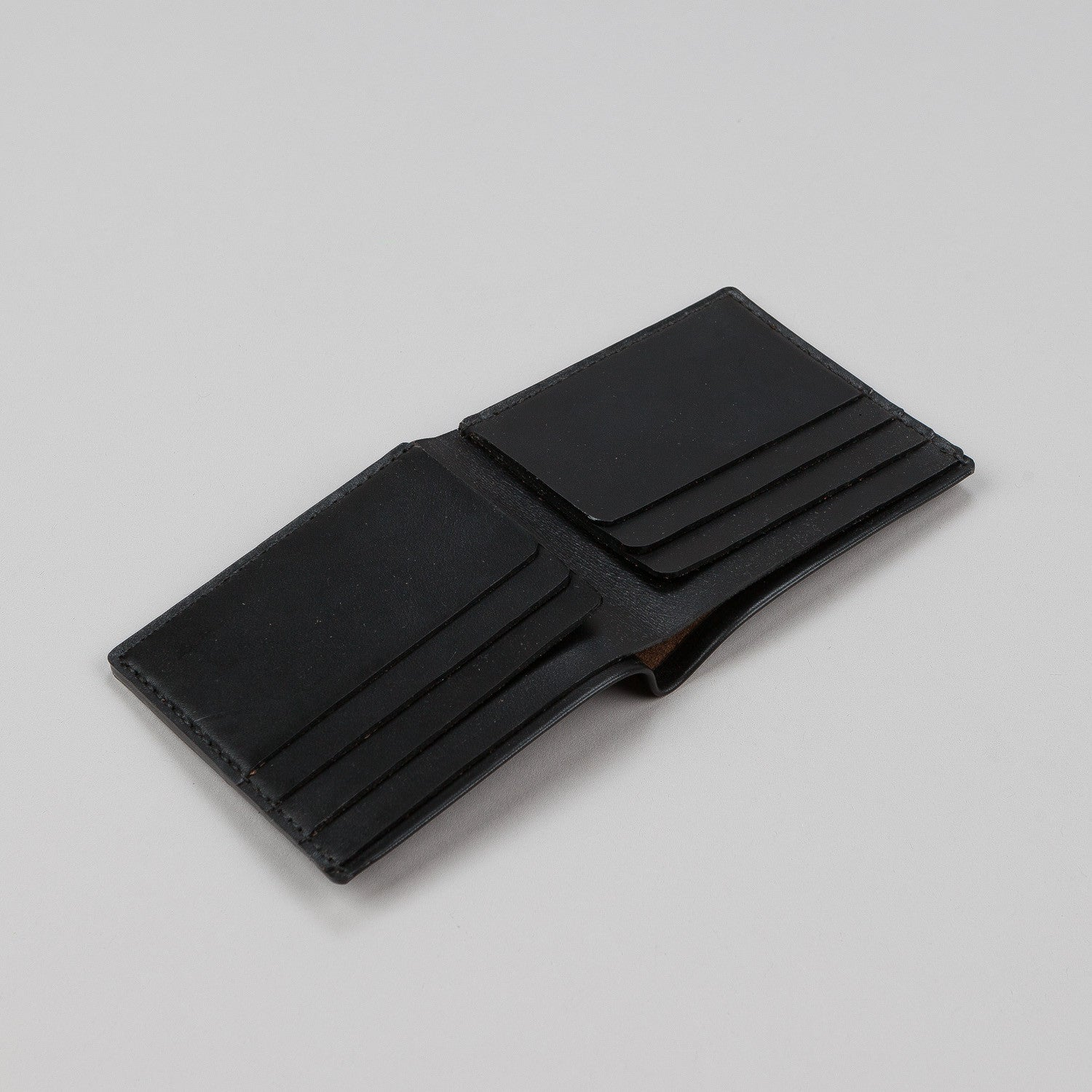 Makr Open Billfold Leather Wallet - Black