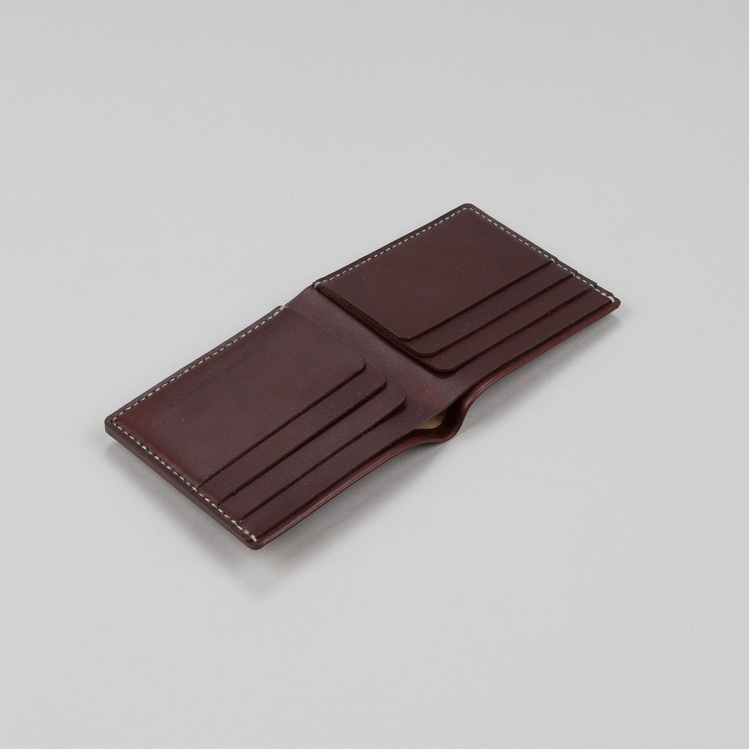 Makr Open Billfold Leather Wallet - Oxblood