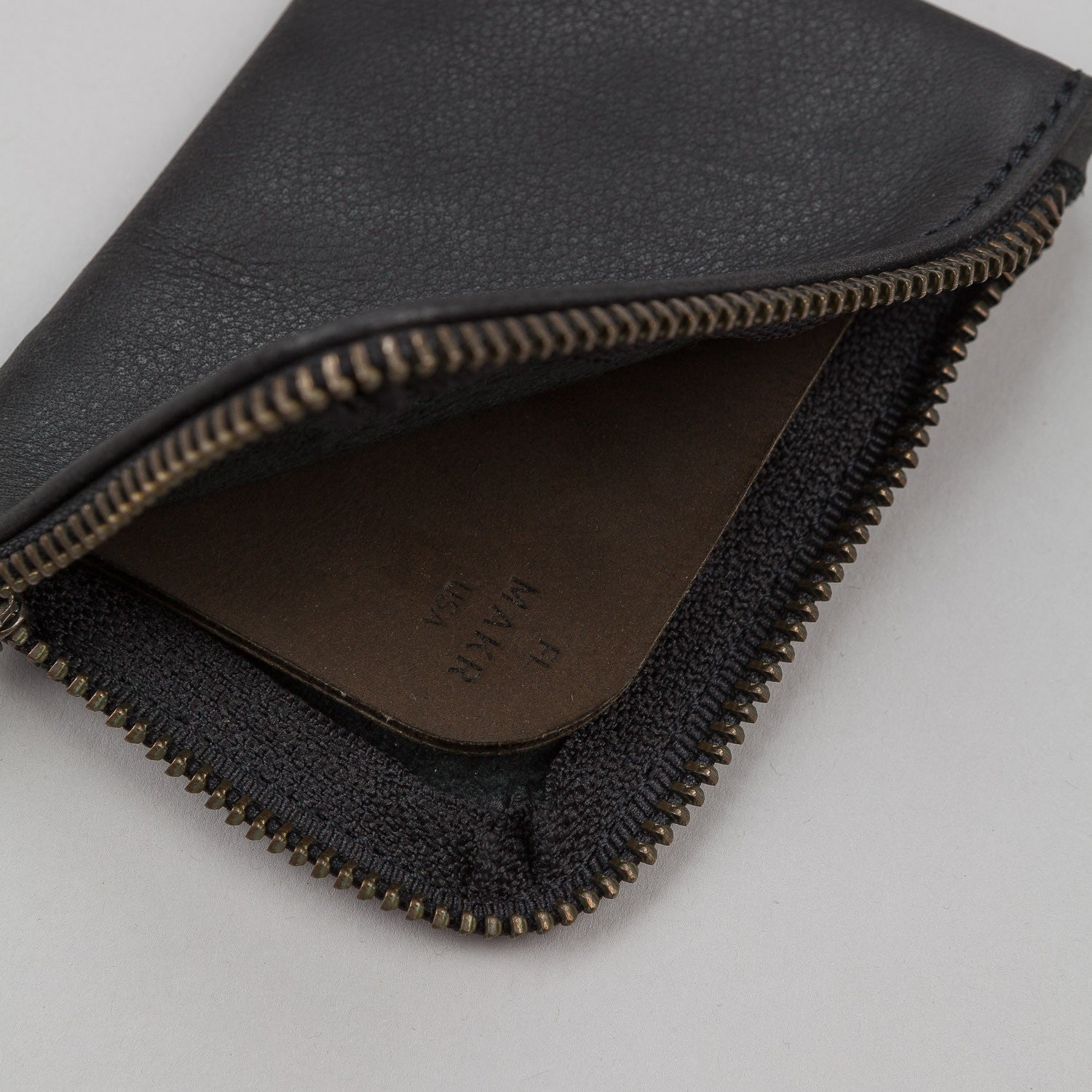 Makr Zip Slim Leather Wallet - Black