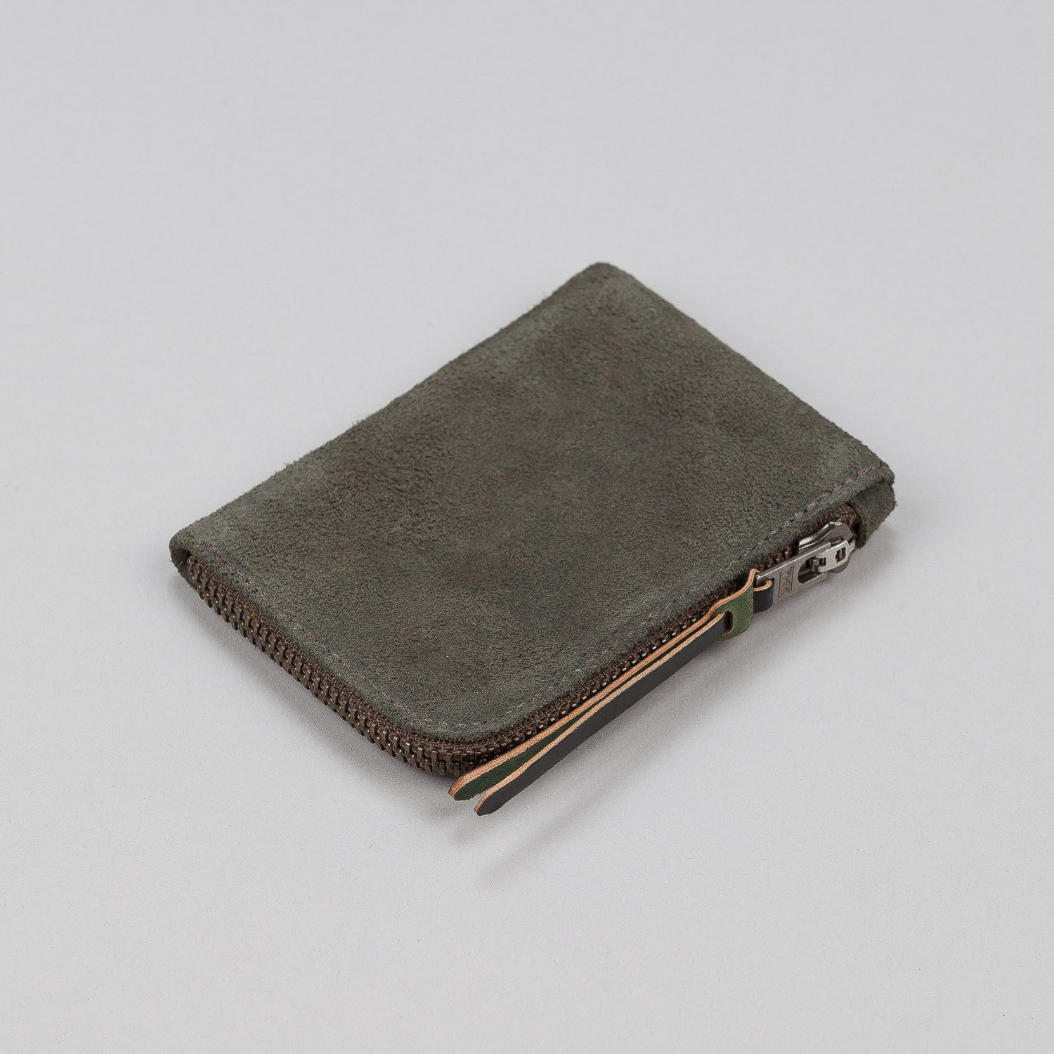 Makr Zip Slim Leather Wallet - Moss