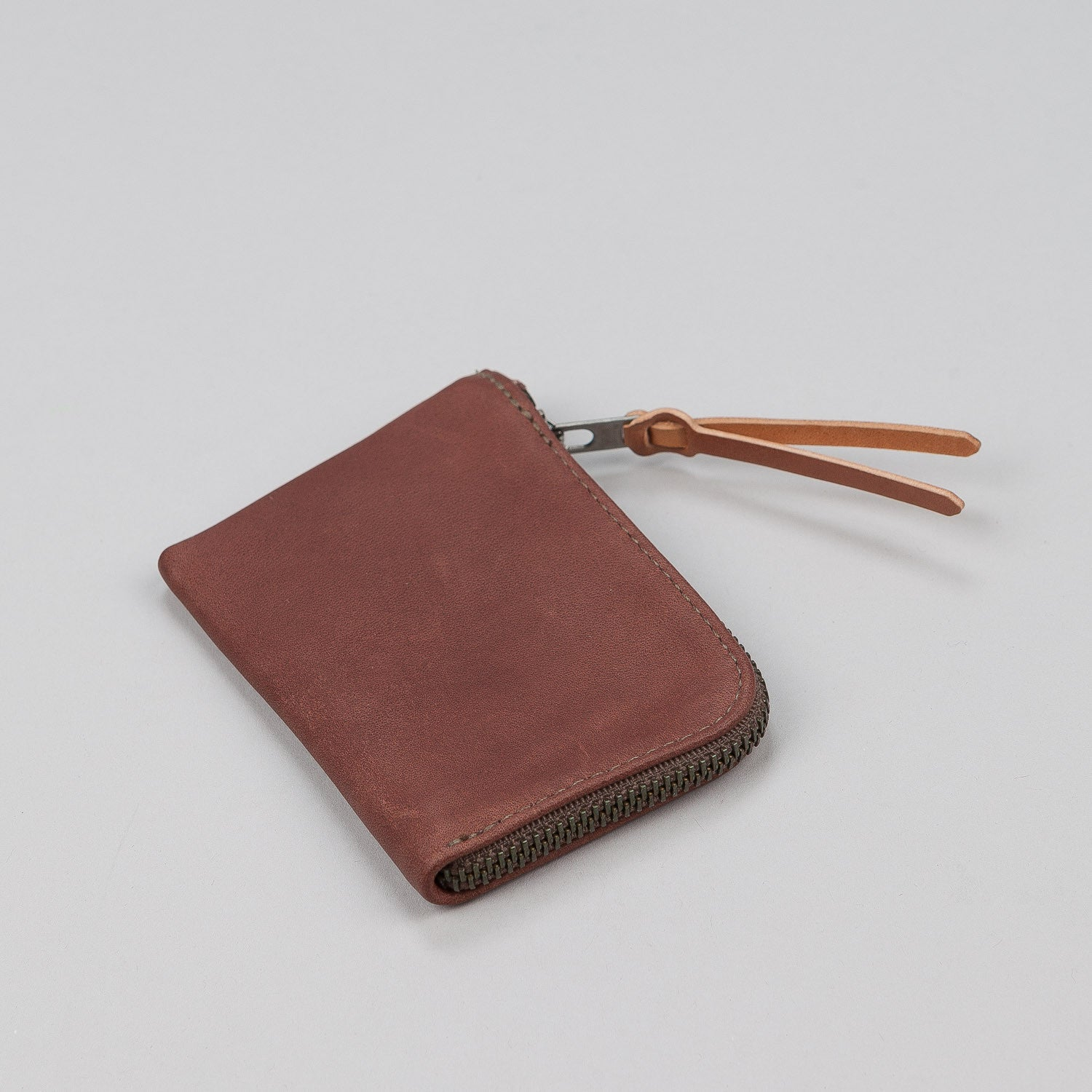 Makr Zip Slim Leather Wallet - Walnut