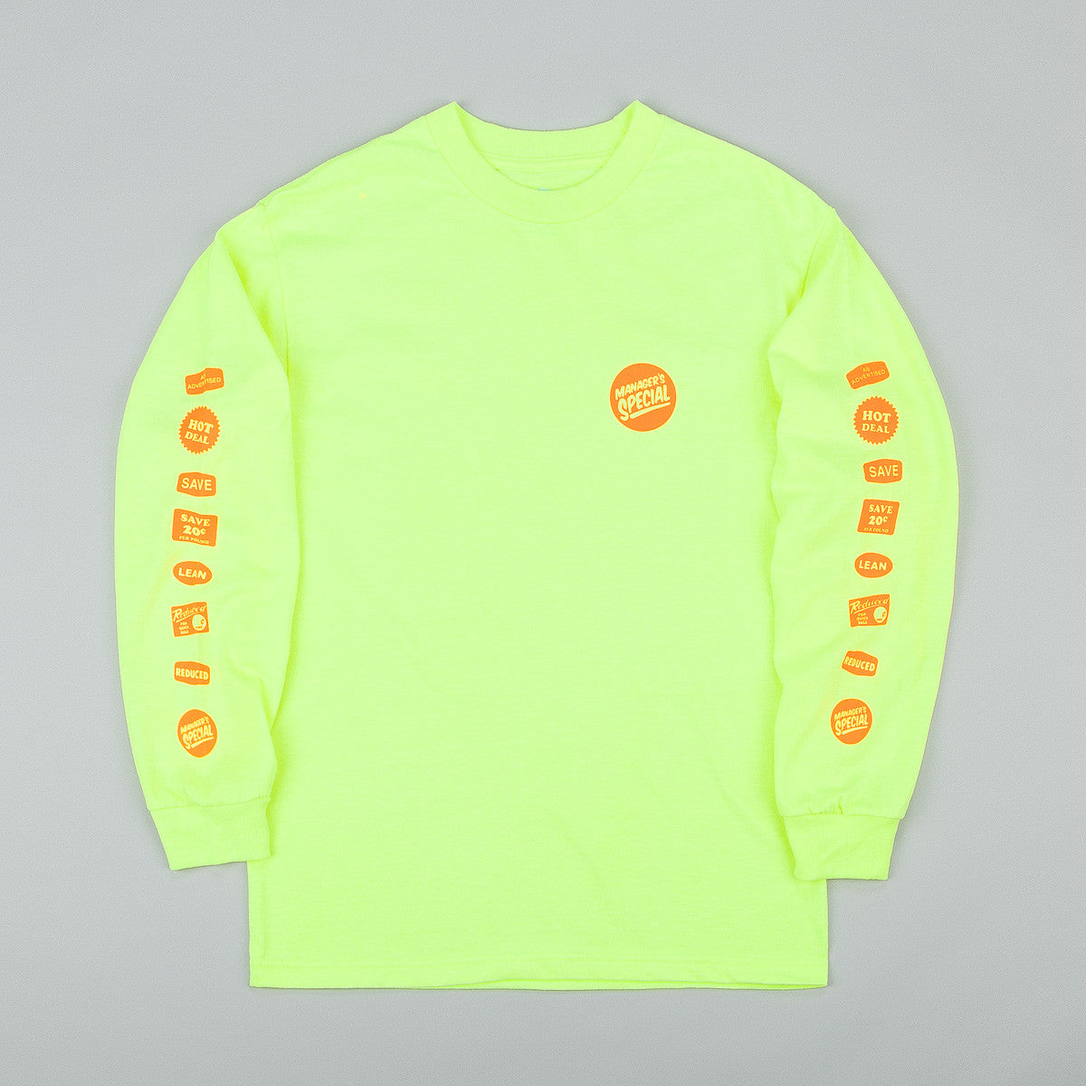 Managers Special Grocery Label Long Sleeve T-Shirt - Safety Green